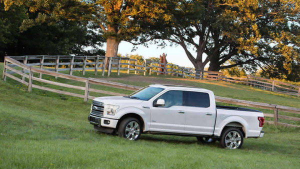 White Ford F-150 Super Crew pickup truck in front a wooden fence in a meadow.