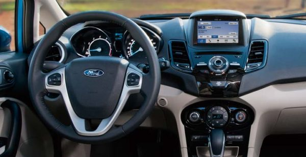 Interior of a Ford Fiesta showing the SYNC system