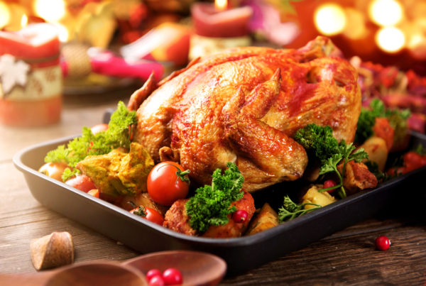 turkey garnished with potato, vegetables and cranberries