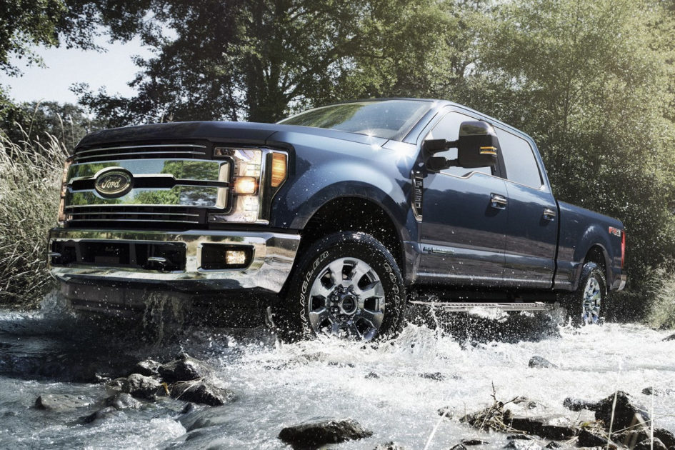 ford truck in water