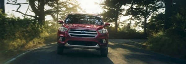 The 2018 Ford Escape driving down a tree-lined road
